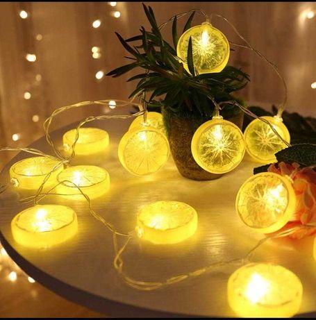Гирлянда лимоны, светодиодная гирлянда тёплый свет, гирлянда 7м.