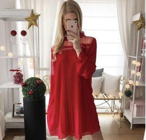 Czerwona sukienka rozmair uniwersalny