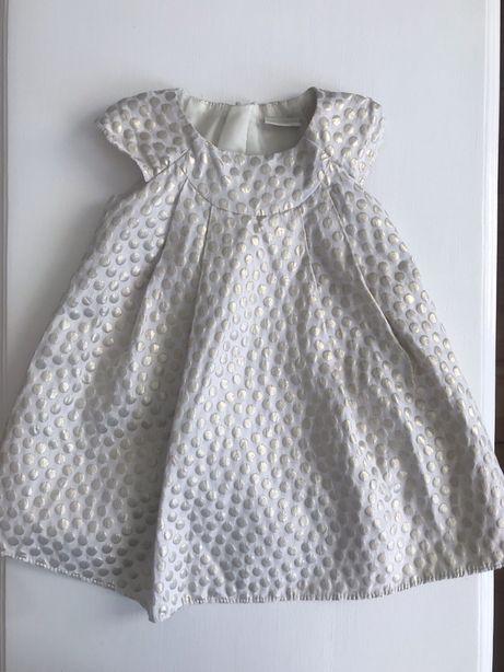 Sukienka Next ecru złote kropki 86 święta roczek