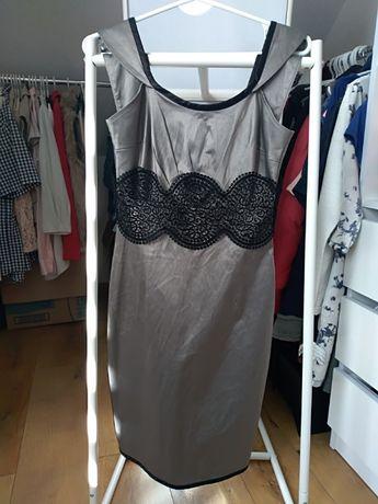 Elegancka sukienka na wesele z koronką S