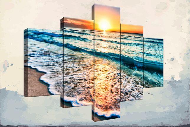 Oryginalny obraz do salonu, Zachód słońca w Cancun, canvas, prezent