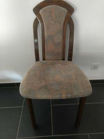Krzesło dębowe tapicerowane - Swarzędzkie Meble - stan bardzo dobry