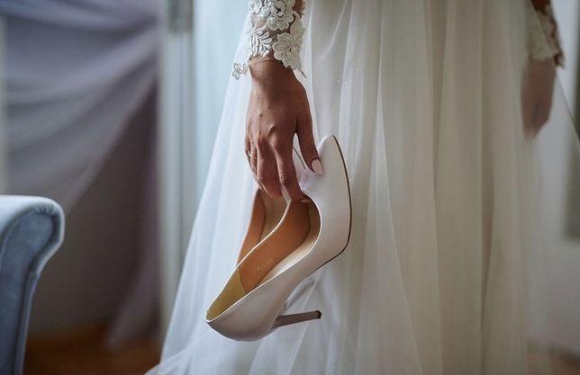 Buty , szpilki ślubne r.40 , 9,5cm , perłowy róż
