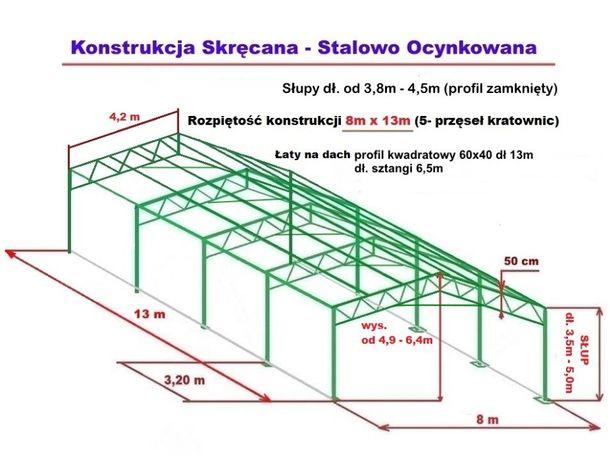 Wiata Garaż 8x13m Hala Magazyn Konstrukcja OCYNKOWANA stalowa skręcana