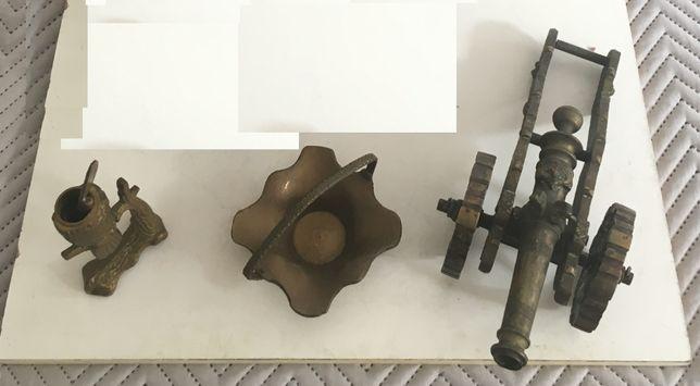 Vários Itens em Bronze (Canhão miniatura, Cesta e Caneta)