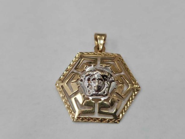 Wyjątkowy złoty wisiorek damski/ 585/ Motyw Grecki/ 3.34 gram