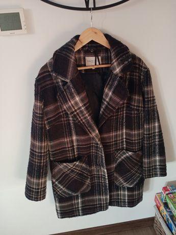 Plasz płaszczyk w modną kratkę krata indygo 38 m 40