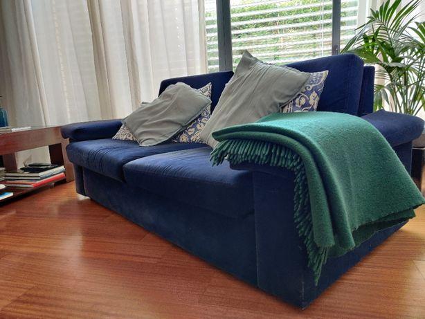Sofá cama de 2 assentos/3 lugares - Azul