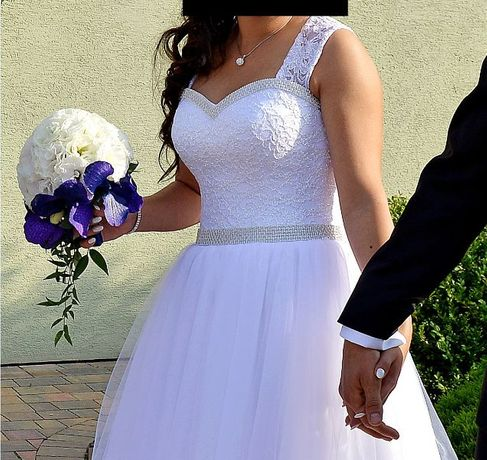 Suknia ślubna Biała 34 -36 Swarovski Wiązana Księżniczka