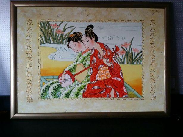 Картина - Восточные девушки у пруда с музыкальным инструментом