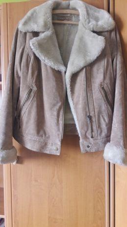 Beżowa kurtka ze skóry z kożuchem Camaieu rozmiar 40