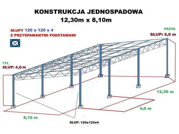 Wiata rolna garaż Konstrukcja skręcana 8,1 x 12,3m Hala Magazyn Blacha