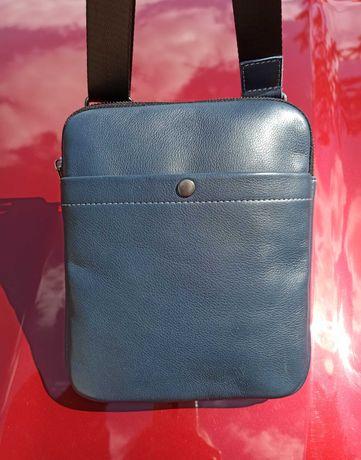 мужская кожаная сумка барсетка синяя слинг мессенджер