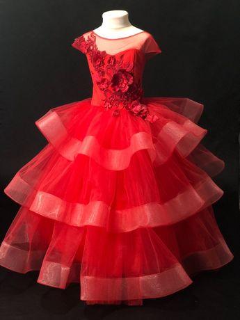 Платье плаття сукня бальное бальне выпускное випускне красное пышное