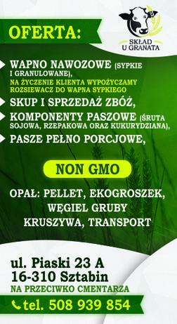 Wapno nawozowe, Usługi HDS, żwir, skup zbóż, ekogroszek, kukurydza ccm
