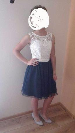 Sukienka krótka, biała, granatowa 34 XS