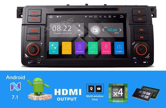 "Rádio BMW E46 Rover MG Android 7.1 Quad-Core 2GB RAM 7"" HD Wifi GPS BT"