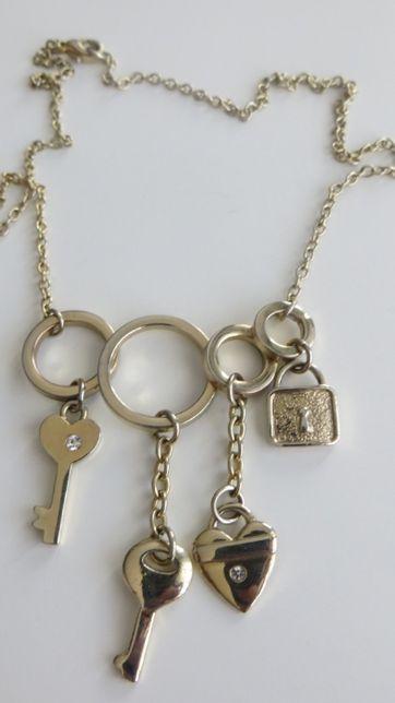Naszyjnik pozłacany kłódki i kluczyki