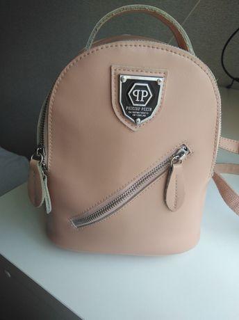 Кожаный рюкзак, кожа, женский, пудра