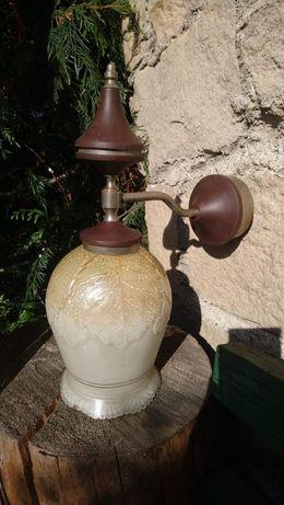 Kinkiet lampa drewno szklany klosz stan idealny do wnetrza na zewnatrz