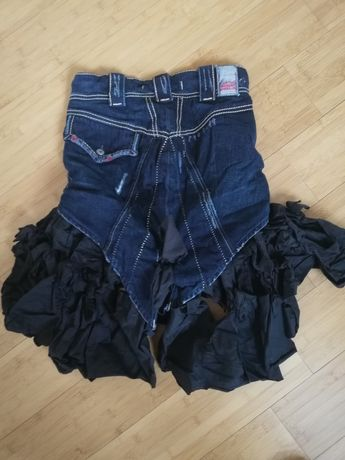 Джинсовая юбка с воланом