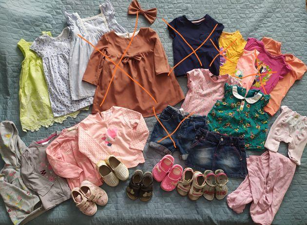 Пакет лот одягу та взуття для дівчинки весна літо  на вік 1.5-2 роки