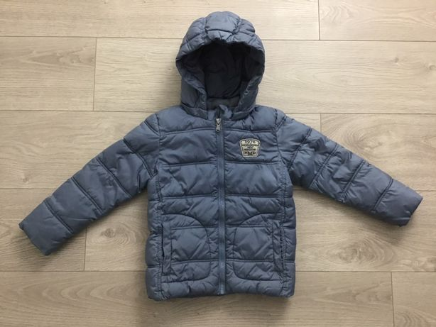 Benetton kurtka zimowa ocieplana 110cm ciepła szara kaptur