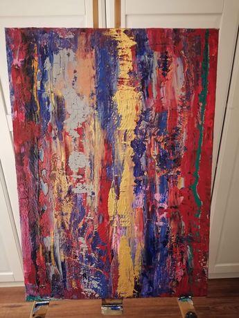 Obraz ręcznie namalowany 70 x 50 cm złoto, czerwień, granat.