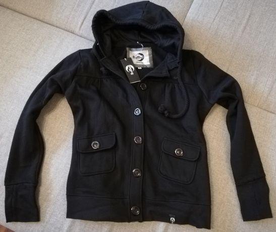 Czarna nowa ciepła bluza rozpinana z kapturem M/L
