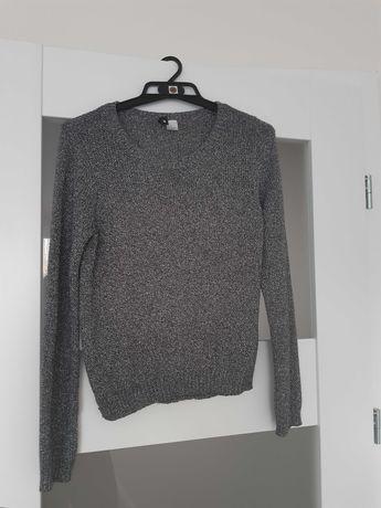 Sweter bluzka srebrna nitka sylwester h&m rozmiar s