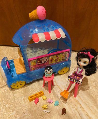 Samochód ENCHANTIMALS mobilna BUDKA Z LODAMI Pingwin + lalka + auto