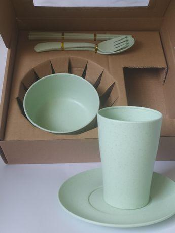 Еко посуд стакан миска тарілка прикорм подарок посуда