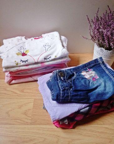 Paka ubranek dla dziewczynki sukienka spodnie bluzeczki pajac zima 74