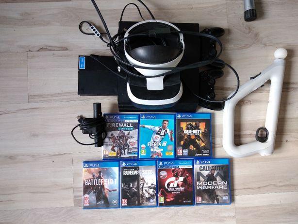 Playstation 4 PRO 1TB ZESTAW VR 3 PADY 7 GIER aim controller