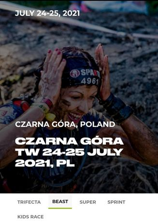 Odsprzedam start Spartan Beast 21 km 30 przeszkód 24 lipca Czarna Góra
