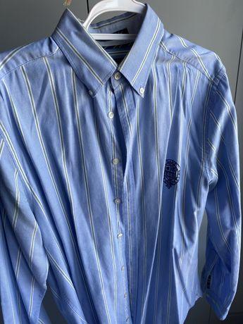 Camisa GANT azul as listas verde