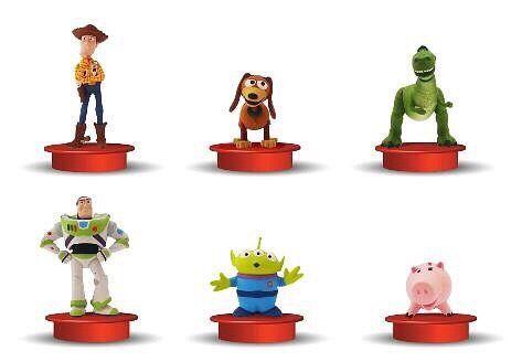 История игрушек. Серия 6 шт + стакан. Баз, Вуди, динозавр, свинка