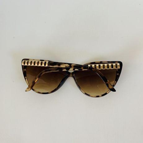 okulary przeciwsłoneczne zara czarne brązowe złote panterka panterkowe