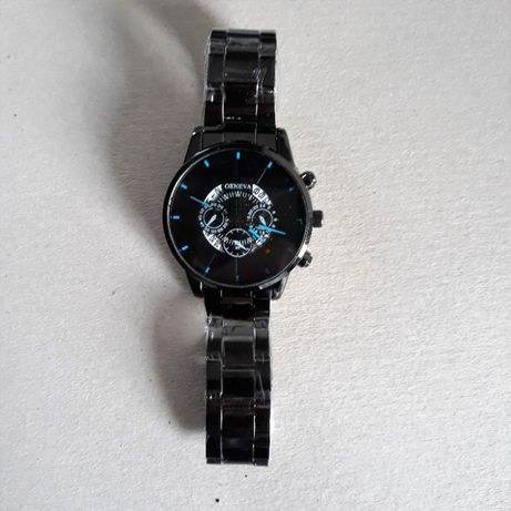 Kwarcowy zegarek Geneva, autodata, czarna bransoleta, stal nierdzewna