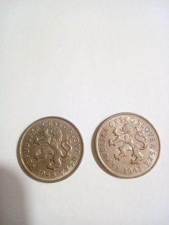 Monety Czechoslowacja 2 kr z 1947 I 1948r sr