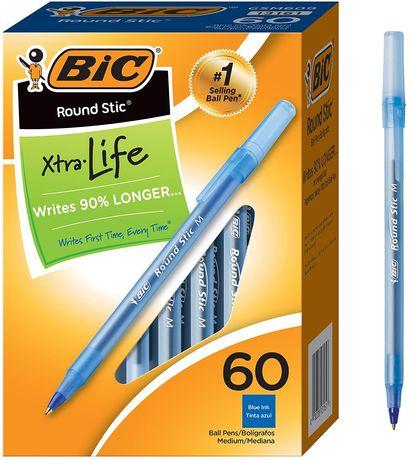 Шариковая ручка BIC Round Stic Xtra Life. 60 штук