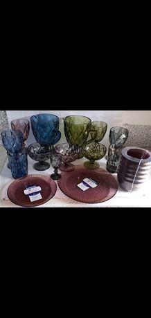 Бокалы,посуда из цветного толстого стекла, винтажные бокалы