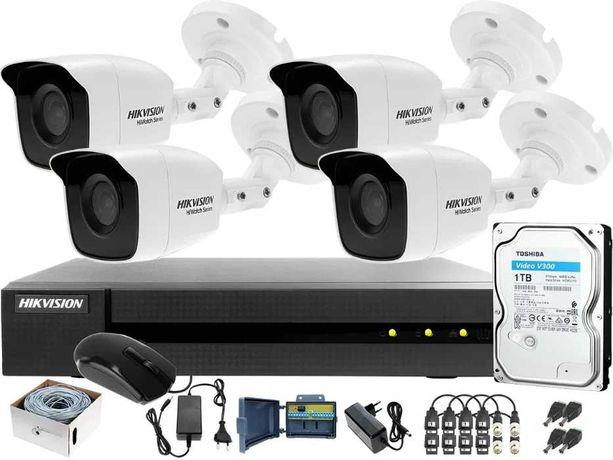 Zestaw monitoringu 4 kamer - Podgląd w telefonie +MONTAŻ monitoring