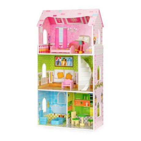 Wysoki drewniany domek dla lalek verII + mebelki ECOTOYS