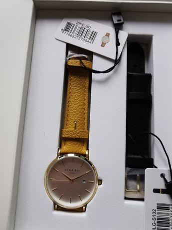 Zestaw prezentowy zegarek ze skórzanym żółtym paskiem oraz wymiennym
