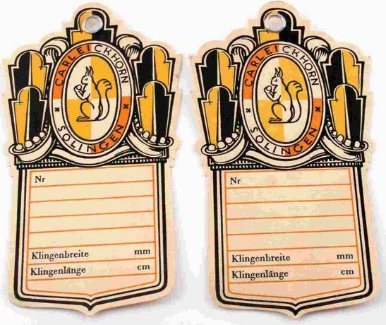 Etykiety sprzedażowe do szabli - Eickhorn Solingen - oryginał 33-35'