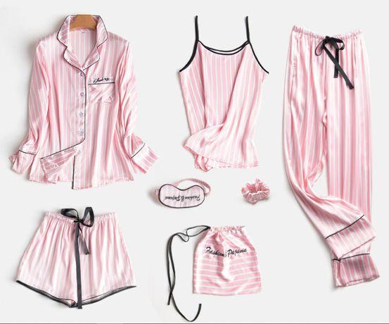 Шелковый Комплект Victoria's Secret 7шт женская пижама шелковая набор