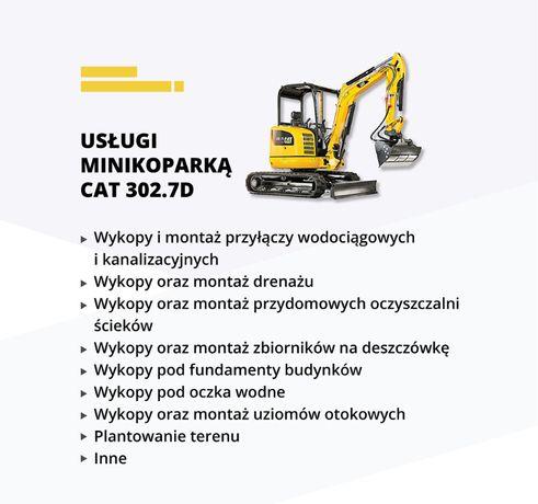 Usługi Minikoparką CAT / Koparko Ładowarką CAT / Koparką Kołową VOLVO