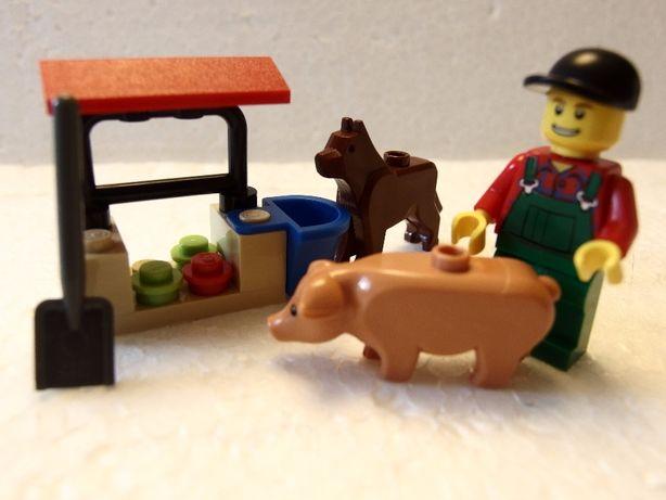 klocki lego 7566 farmer-rolnik,świnka