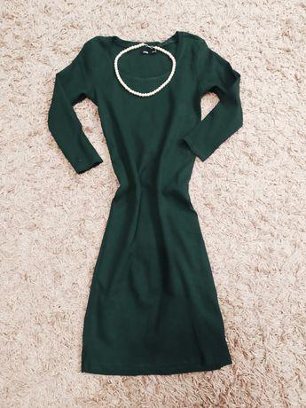 Sukienka ołówkowa prążkowana butelkowa zieleń
